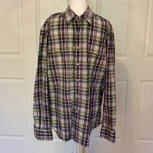 Robert Graham Purple and Green Plaid shirt